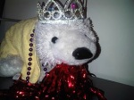 my roomie's stuffed polar bear donning my apparal. Working it!